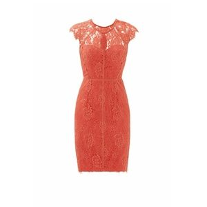 ML Monique Lhuillier Pink Coral Lace Sheath Dress